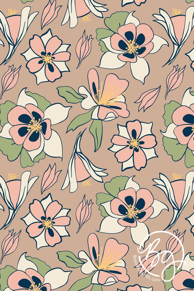 beth's garden repeat pattern of columbine flowers