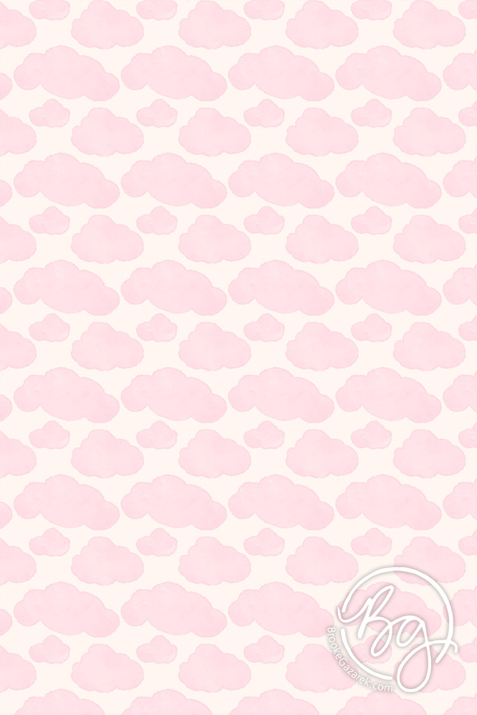 pink clouds watercolor pattern