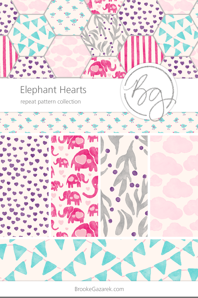 elephants and hearts watercolor repeat pattern collection