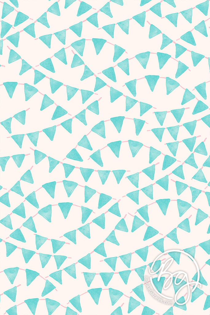 pennants banner watercolor pattern