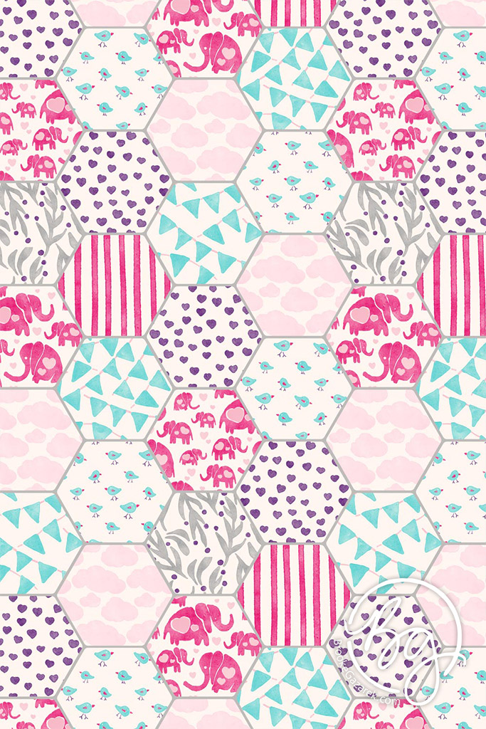 elephants and hearts watercolor quilt pattern