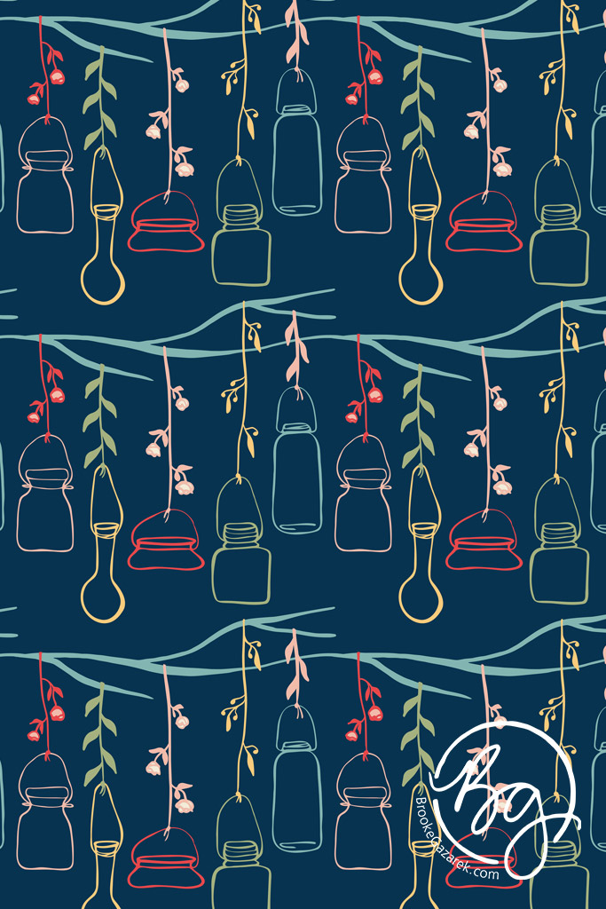 whimsical night hanging jars repeat pattern